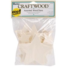 "Wood Turning Shapes-Assorted Stars 1.125"" To 3.375"" 32/Pkg"