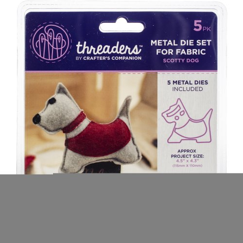 """Crafter's Companion Threaders Metal Fabric Nesting Dies-Scotty Dog Project 4.5""""X4.3"""" 5/Pkg"""
