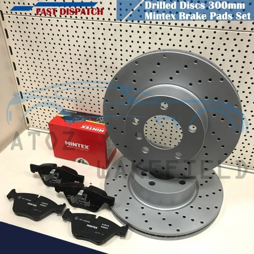 FOR BMW 120d FRONT KINETIX DRILLED PERFORMANCE BRAKE DISCS MINTEX PADS KIT 300mm