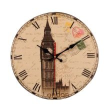 [Big Ben] 14 Inch Vintage Wooden Wall Clock Decorative Silent Wall Clock