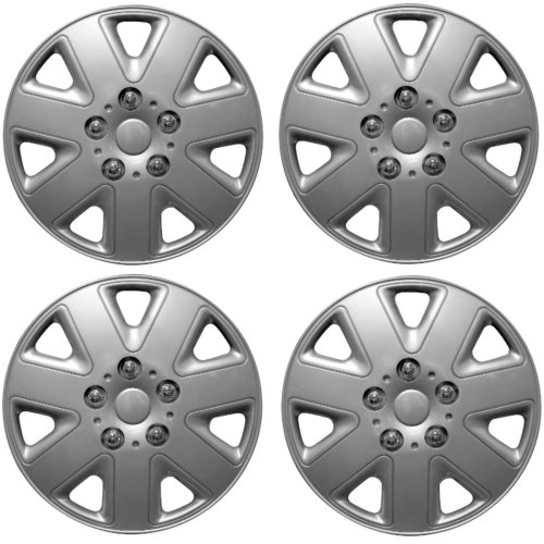 "Brookstone Madrid Car Wheel Trim Set 13"" Silver Set Of 4 Hub Caps Covers"