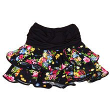Eye-Catching [Floral] Kids Latin Dance Skirt Soft Practice Dress BLACK One Size