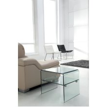 Luna 12mm Clear Tempered Bent Glass Side Table