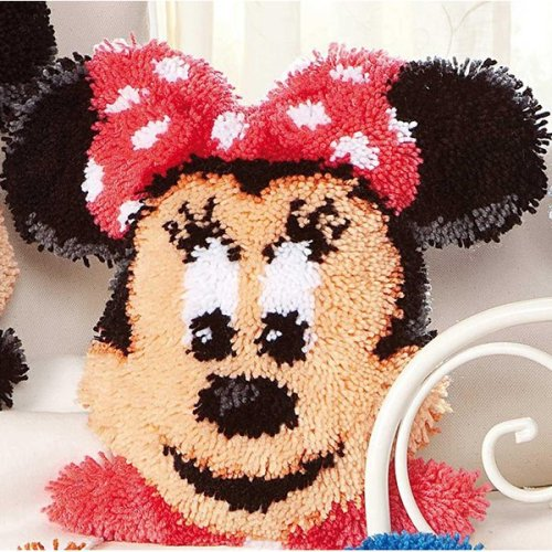 """Latch Hook Cushion Cover Kit""""Minney Mouse""""52x47cm Shaped"""