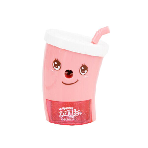 Cute Cup Shape Manual Pencil Sharpener for Office and Classroom (Pink)