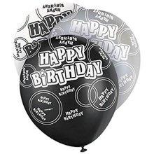 Happy Birthday Balloons Black Glitz