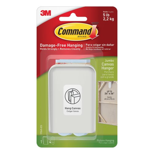 3M Command Jumbo Canvas Hanger White Hooks and 4 Strips, Acrylic, Multicoloured,