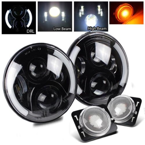 TurboMetal 7 in. Round Cree Black LED Projector Headlight for Jeep JK TJ LJ CJ - Chrome Amber