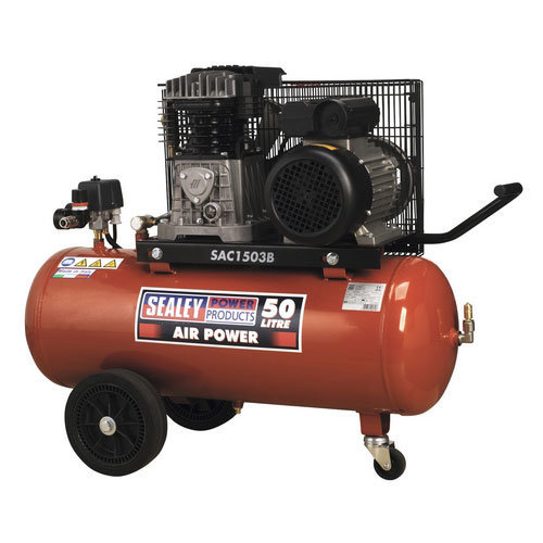 Sealey SAC1503B 50ltr Belt Drive Compressor 3hp with Cast Cylinders & Wheels
