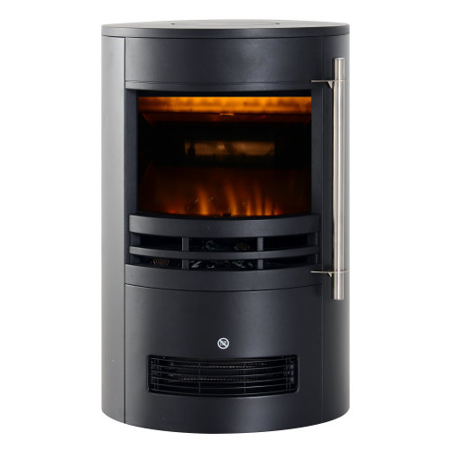 HOMCOM 1800W Freestanding Electric Fireplace Indoor Heater Glass View Log Wood LED Burning Effect Flame Stove with Thermostat Control