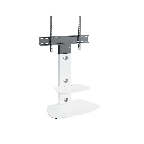 """King Cantilever TV Stand with Brackets, White, Rounded Base, TVs up to 60"""""""