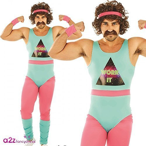 d74d5cba5012 80s Fitness Instructor Mens Fancy Dress Neon Aerobics Sports Adults Costume  New - Fancy Dress Mens 80s Fitness Costume Adult Instructor Retro 90s Sc 1  St ...
