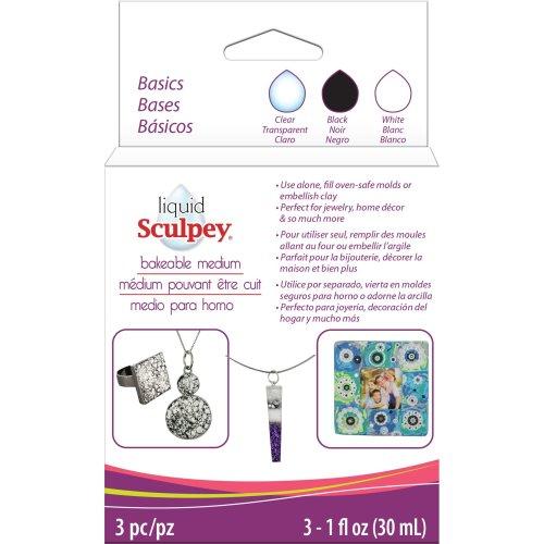 Sculpey Liquid Basics 3/Pkg-Clear, Black, White