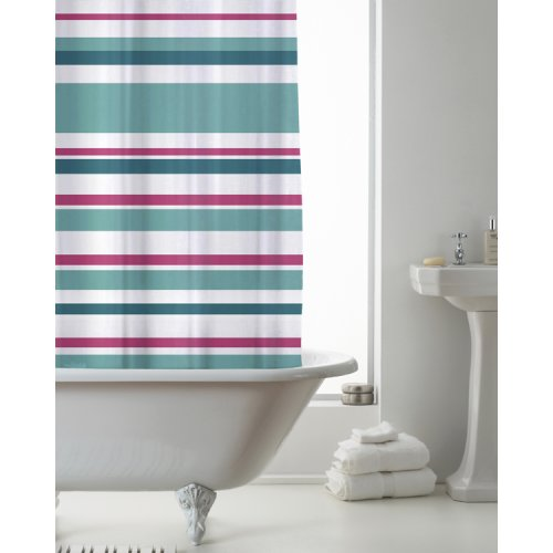 Country Club Shower Curtain Stripe Bright Teal and Pink 180 x 180cm