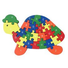 Funny Digital & Letter Wooden Blocks Puzzles Educational Puzzle Tortoise