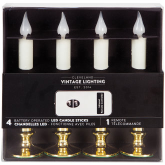 "Battery Operated Led Candlesticks W/Remote 9"" 4/Pkg-Gold"