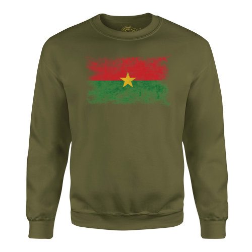 Candymix - Burkina Faso Distressed Flag - Unisex Adult Sweatshirt, Size X-Small, Colour Dark Navy, Size Medium, Colour Military Green