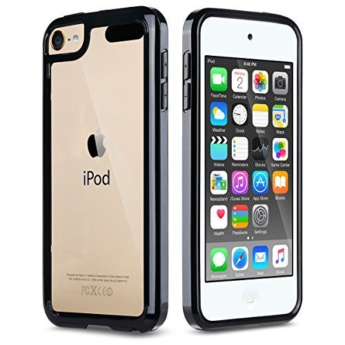 ULAK CLEAR SLIM High Quality Soft TPU Case for iPod Touch 6 5th Generation Bumper Shockproof Hard Cover 2015 Released Black