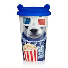Mustard Coffee Crew - Panda - Travel Mug Cup Reusable Ceramic Insulated -  coffee crew panda travel mug cup reusable ceramic mustard insulated