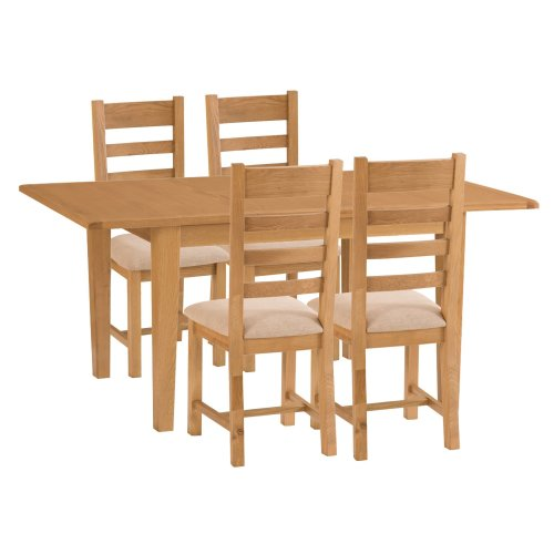 Rustic Oak 1.2m Butterfly Extending Table & 4 Fabric Seat Chairs
