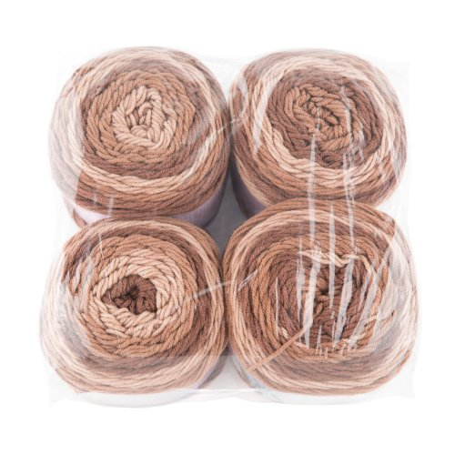 Gründl Lollipop Design Pack of 4 x 150 g Hand Knitting Wool/Yarn Ball 100% Polyacrylic, Caramel Swirl, 24 x 24 x 10 cm