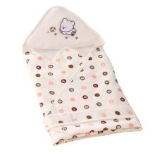 Lovely Baby Receiving Blankets Summer Hooded Swaddleme Dot Pattern, Coffee