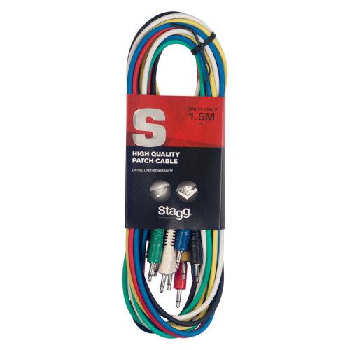 Stagg SPC1,5MJ E Mono 150 cm Minijack Patch Cable Set, Six Pack