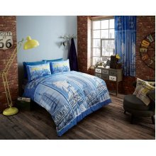 Double New York blue cotton blend duvet cover