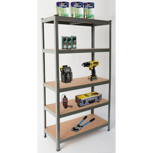 5-Tier Heavy Duty Garage Shelving | Grey Metal Storage Shelf Unit