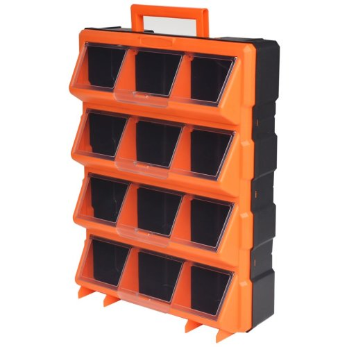 vidaXL Portable Wall-Mountable Toolbox with 12 Compartments Tool Storage Bin