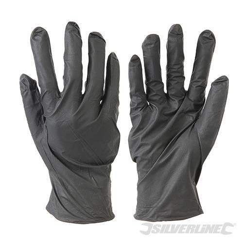 Silverline Extra Large Black 100 Pack Disposable Nitrile Gloves