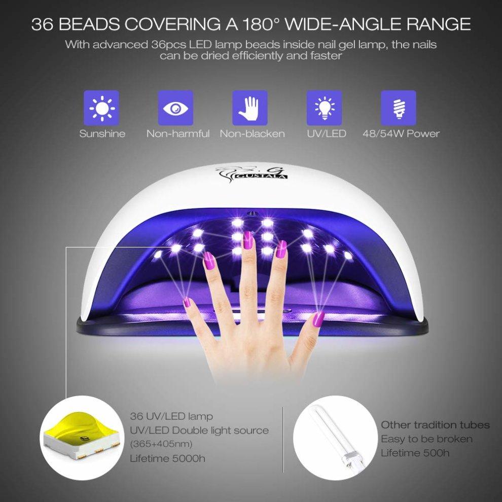 54W UV LED Nail Lamp for Gel Polish, Gustala Nail Dryer Lamp Gel ...