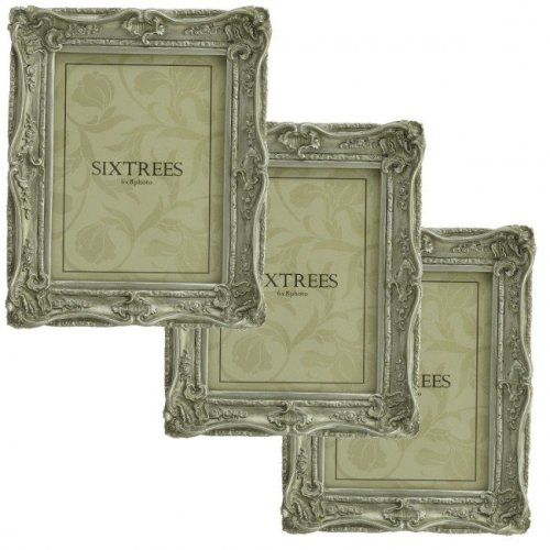 THREE Sixtrees Chelsea 5-255-68 Shabby Chic Ornate Silver 8x6 inch Photo Frames