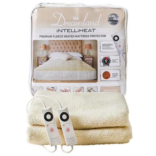 Dreamland Intelliheat Fast Heat Premium Soft Fleece Mattress Protector, King Size, 200 x 150 cm
