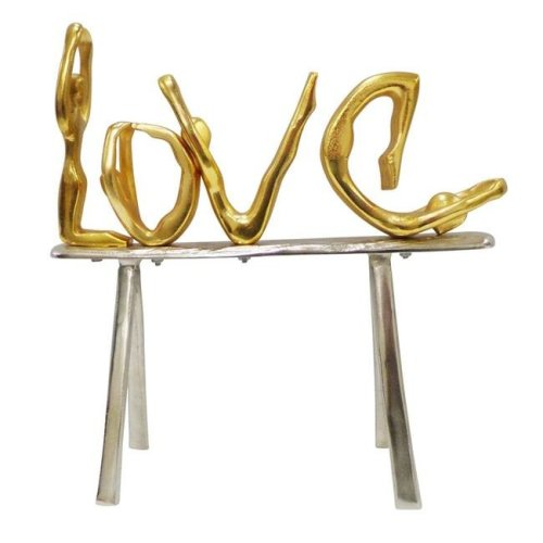 Benzara BM153666 Well Designed Metal Love Decor on Stand, Gold & Silver