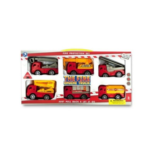 Kole Imports KL251-4 4 x 2 in. Fire Engine Truck Set, 6 Piece - Pack of 4