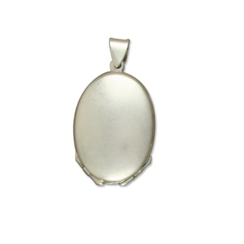 Childrens Sterling Silver Four Way Plain Oval Locket On A Curb Necklace
