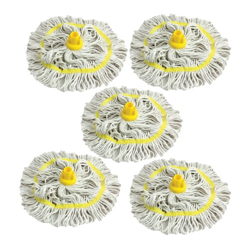 Colour Coded Mop Head Hygienic Cleaning Looped Pure Yarn Cotton Mop Socket 350mm YELLOW x 5