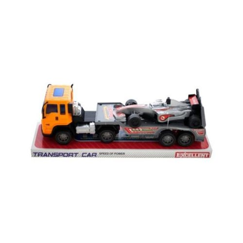 Kole Imports KL243-12 11 x 2.87 in. Friction Powered Trailer Truck with Race Car, Pack of 12