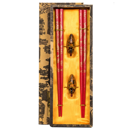 Chopsticks Reusable Set - Asian-style Natural Wooden Chop Stick Set with Case as Present Gift,L