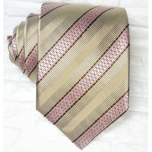 Striped bronze neck tie 100% silk Top Quality Made in Italy Morgana