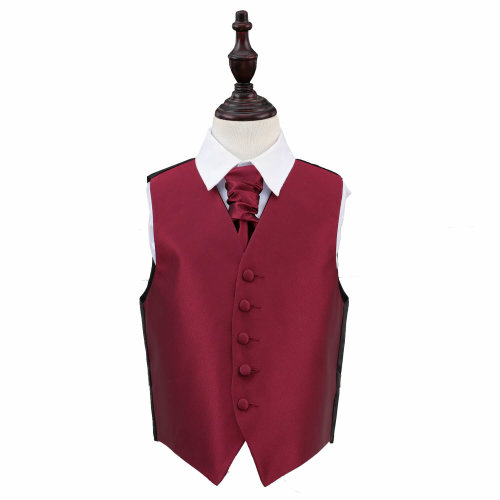 Burgundy Solid Check Wedding Waistcoat & Cravat Set for Boys 32'