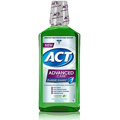 ACT Advanced Care Plaque Guard Mouthwash, Clean Mint 33.80 oz (Pack of 3)