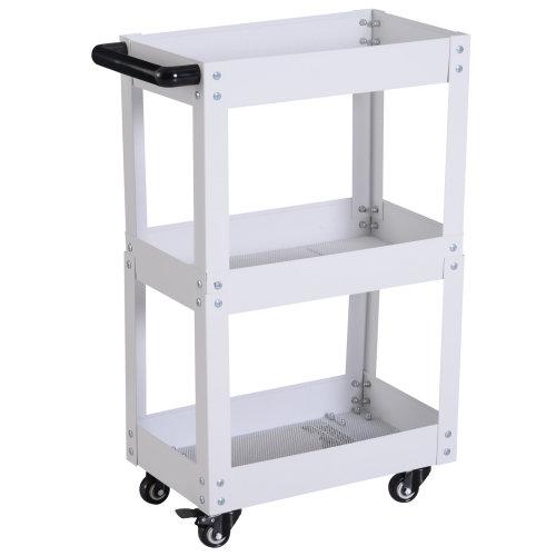 HOMCOM 3-Tier Kitchen Service Cart Utility Trolley Garage Wheel Storage W/ Handle Rolling Castors Partable Mechanic Tool Workshop White