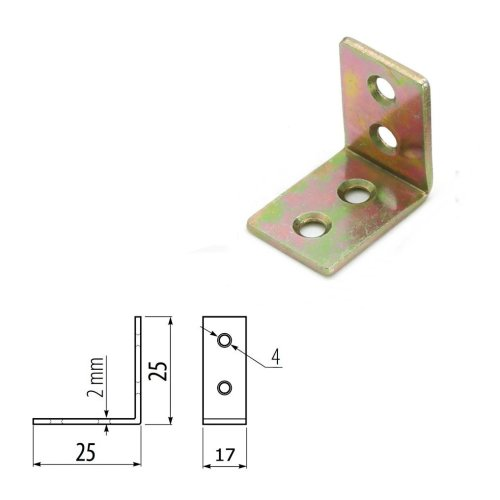 50x Strong STEEL ANGLE BRACKET BAR 25x25mm /Corner/L Shape/Brace/Box
