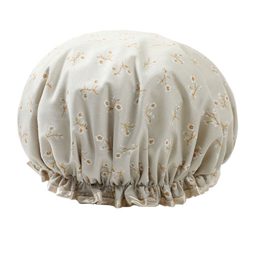 Womens Stylish Design Mold-resistant Shower Cap Double Layers Waterproof Bath Cap,F