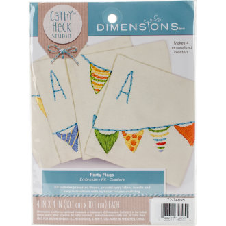 """Cathy Heck Party Flags Coasters Embroidery Kit-4""""X4"""" Stitched In Thread Set Of 4"""