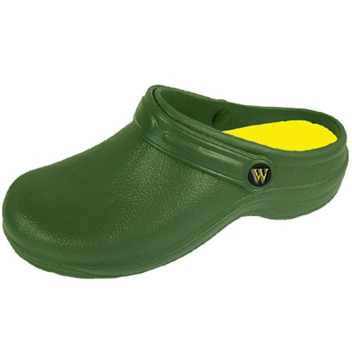 Wetlands Womens Lightweight Slip On Garden Kitchen Hospital Clogs (5, Green)