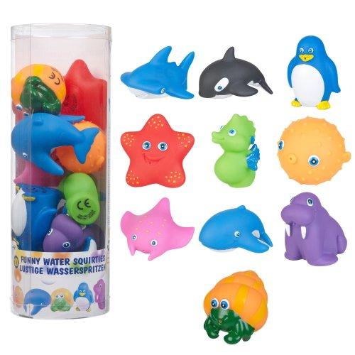 Kids Water Bath Squirties Animals Bathtime Squirter Rubber Fun Set in Tub Childs