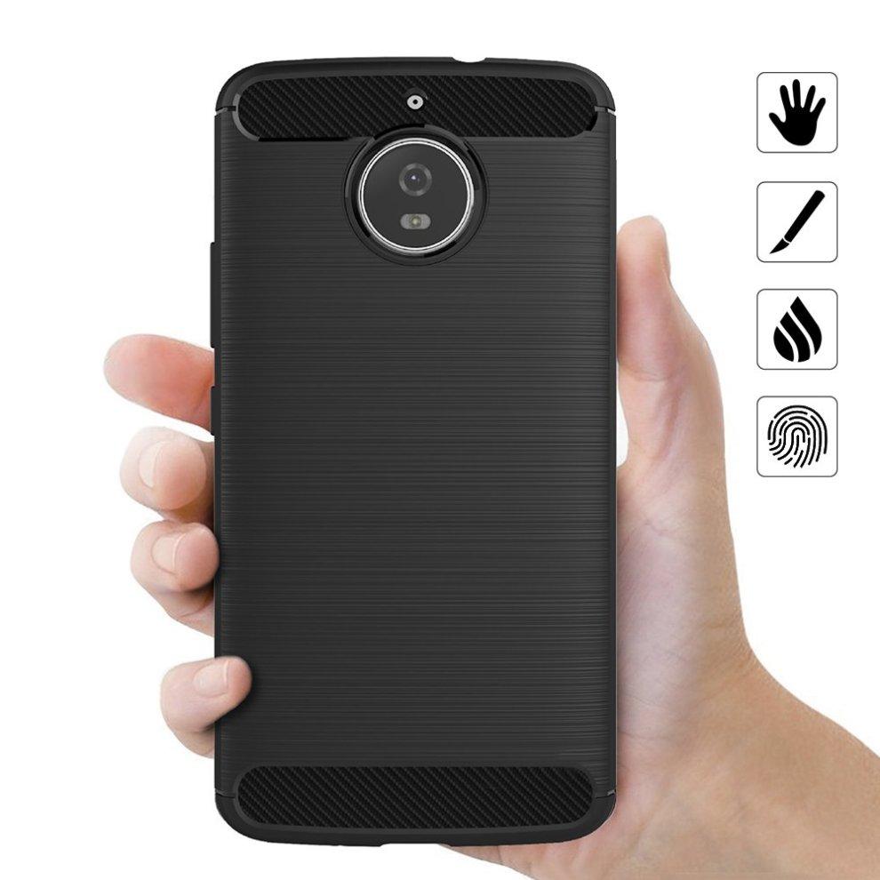 b143f4e94a ... AICEK Moto E4 Plus Case, Black Silicone Cover for Motorola Moto E4 Plus  Bumper Covers ...